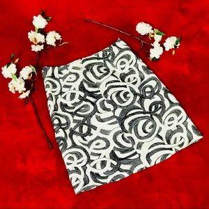 Eccoci Black & White Swirled Pencil Skirt Size 0